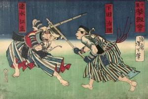 Holzschnitt aus der Meiji-Zeit welcher ein Gekiken-Shiai zweier Hokushin Itto-ryu Kenshi im Chiba-Dojo zeigt