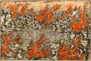 Farbholzschnitt der die Verwüstungen des Ansei-Erdbebens ins Edo zeigt