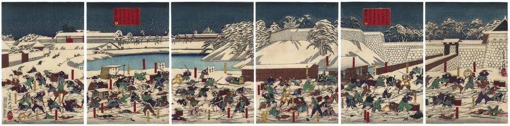 Zeitgenössischer Farbholzschnitt zum Anschlag und der Ermordung des Tairō Ii Naosuke durch siebzehn  Hokushin Ittō-Ryū Rōnin aus Mito