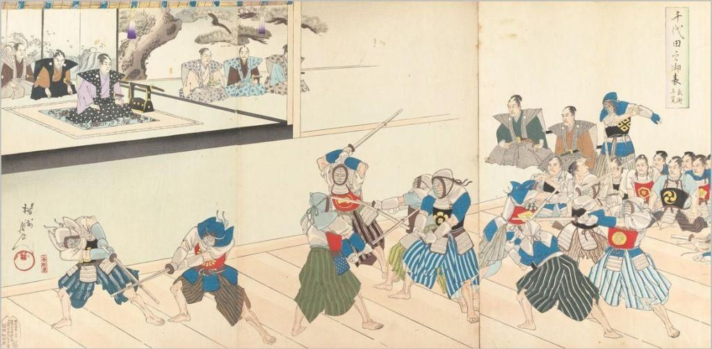 Taryū-Jiai Geiko während der späten Edo-Epoche vor Clan-Funktionären, welche die kämpferischen Fähigkeiten der Fechter begutachten.